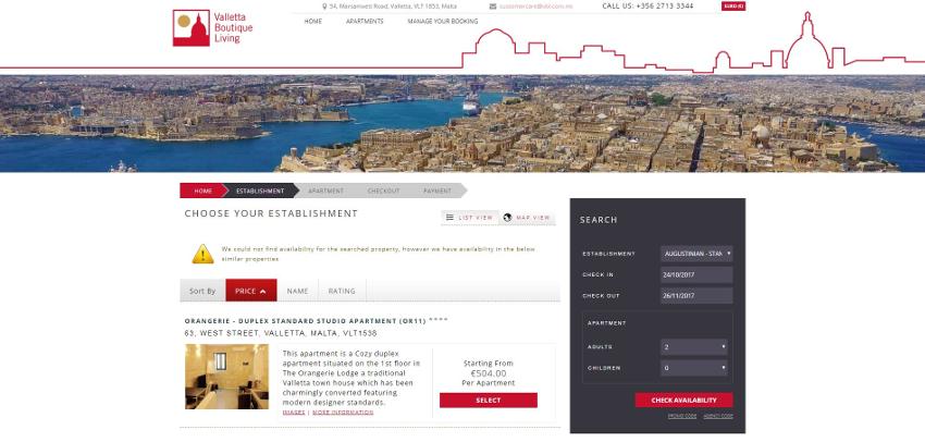 Valletta Boutique Living - Booking Engine