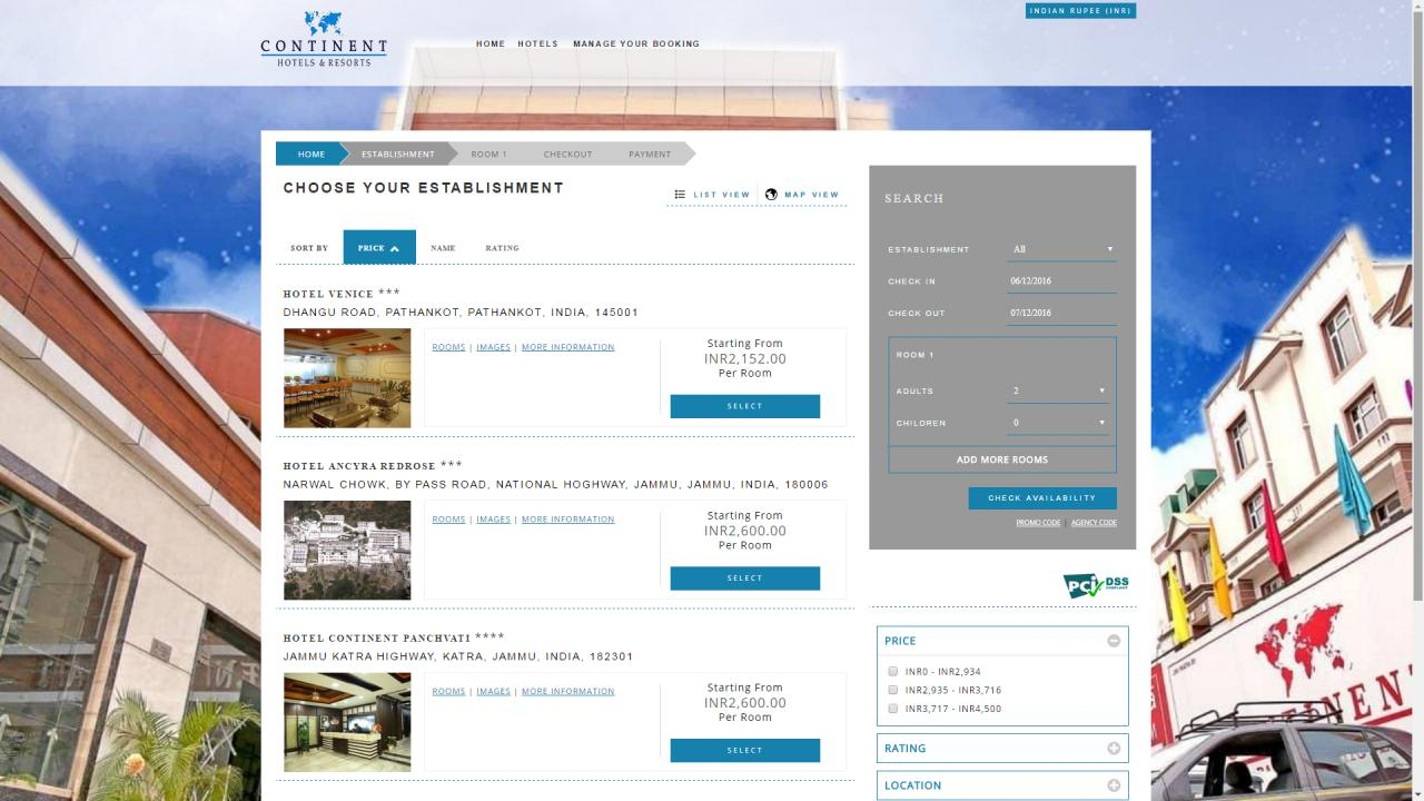 Continent Hotels - Search Results Page