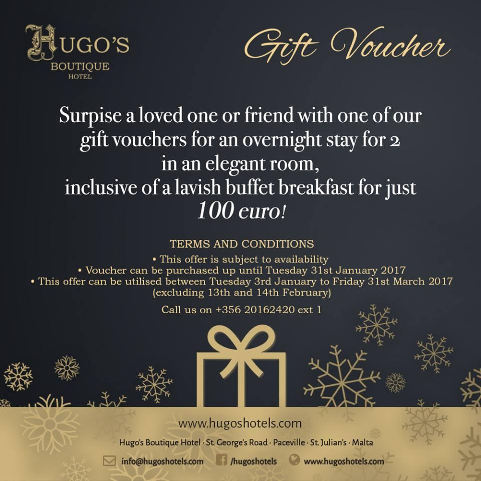 Hugo's Boutique Hotel Gift Vouchers