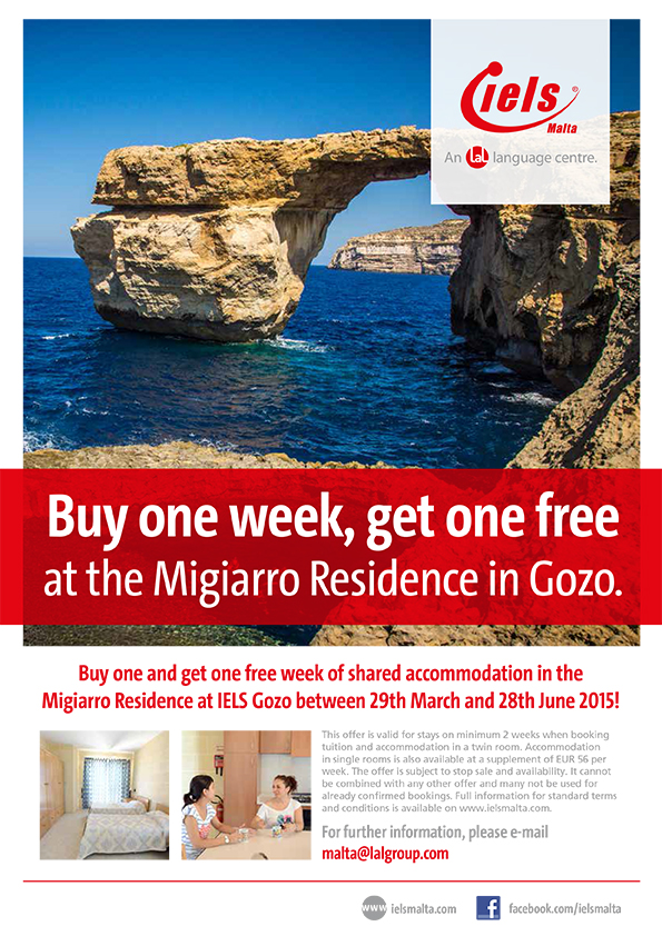 Buy one and get one free week of shared accommodation in Gozo