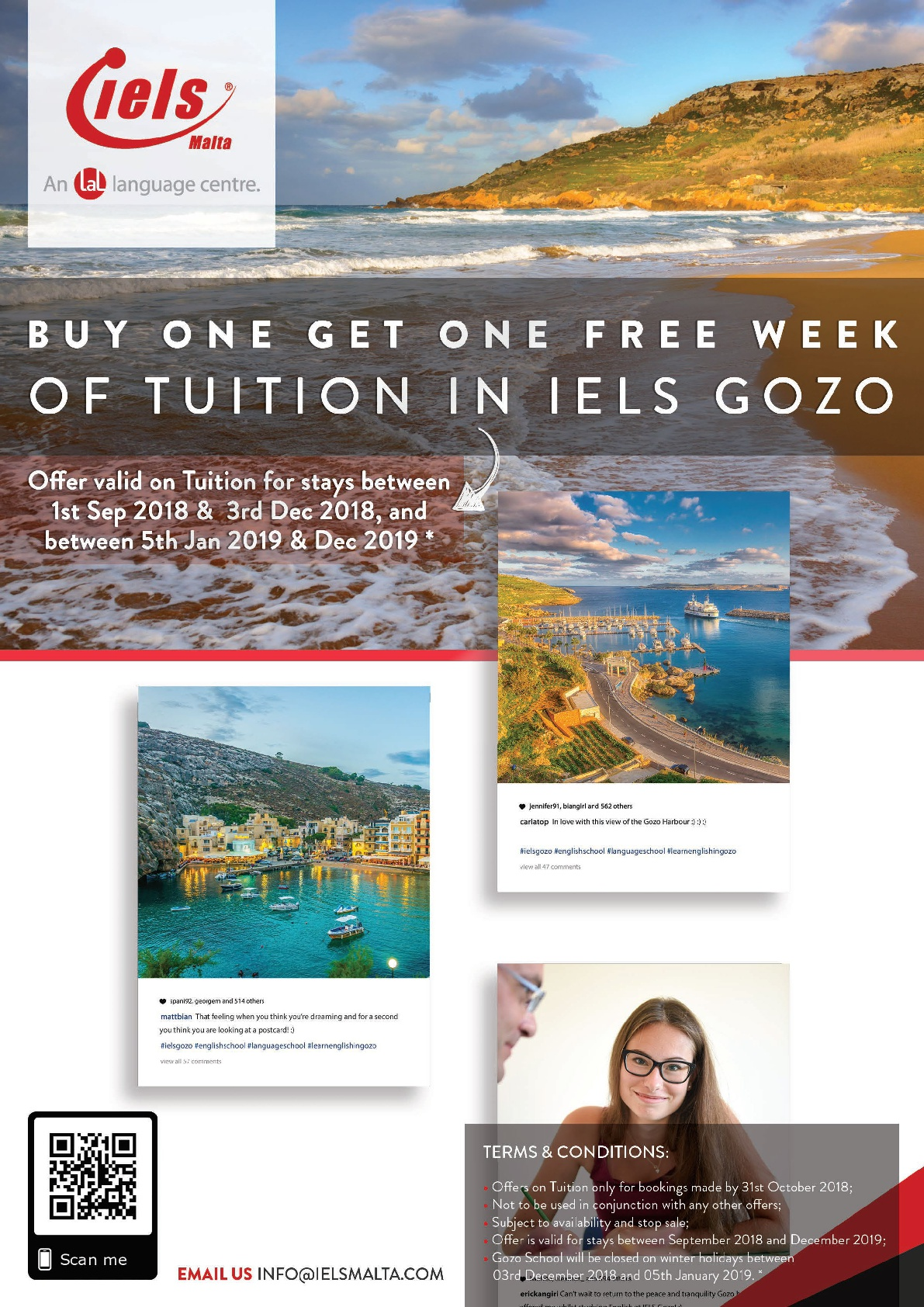 2 for 1 on tuition in Gozo!