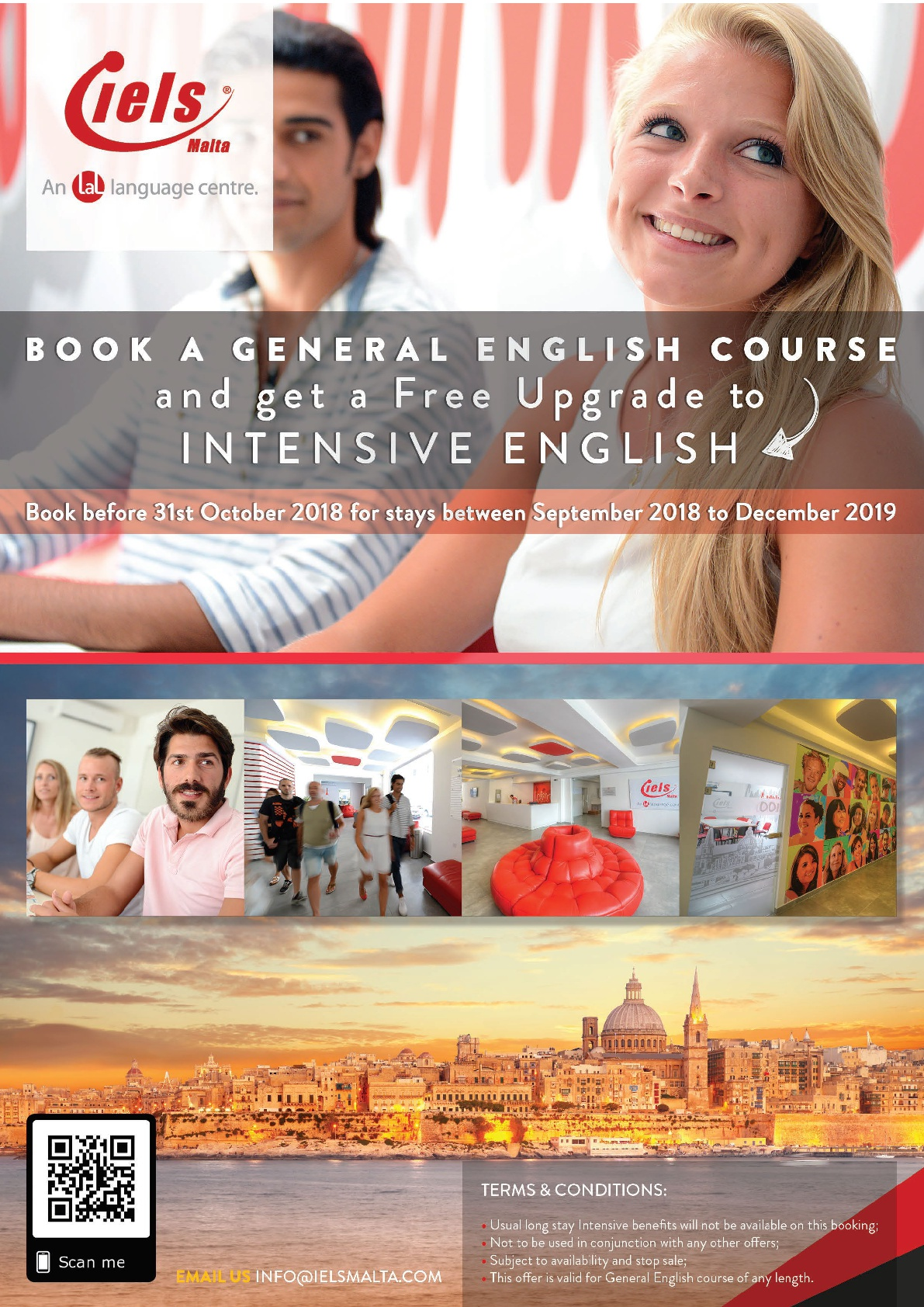 Free upgrade to Intensive English in IELS Malta