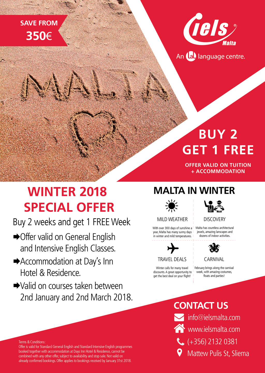 Buy 2 weeks Get 1 FREE - Winter 2018 Special Offer !