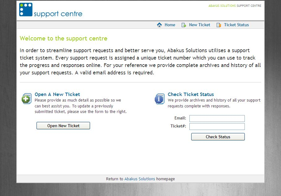New and improved Abakus Ticketing Support System