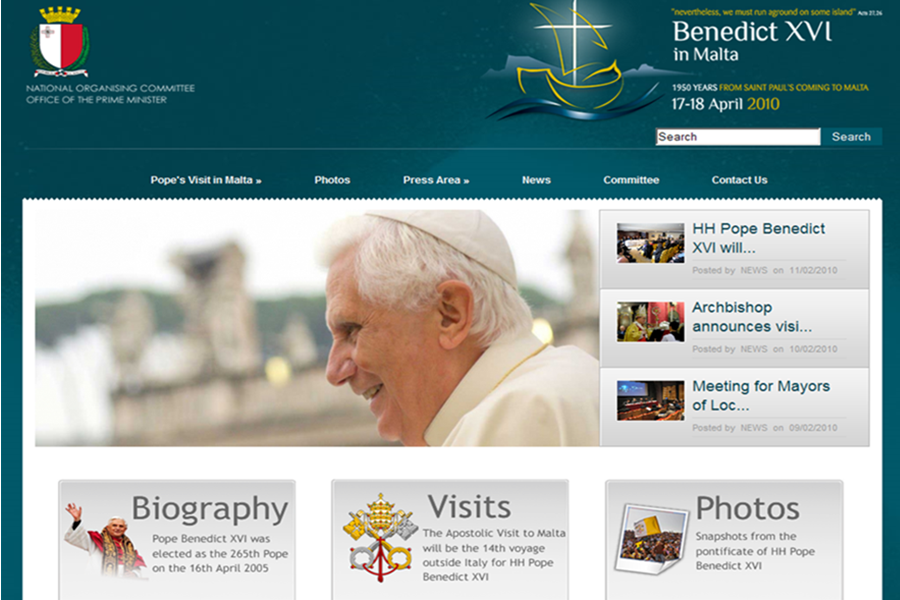Website for the Papal visit