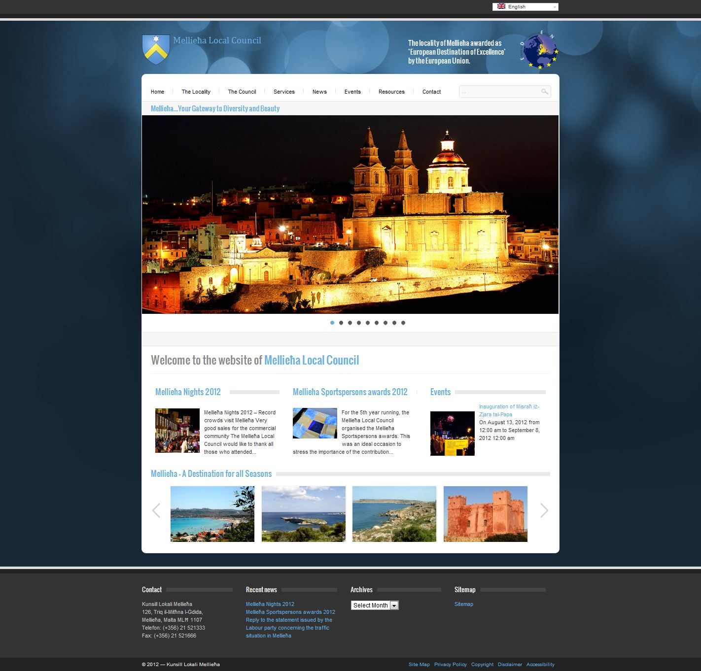 Mellieha Local Council with a new updated website