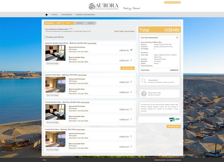 Aurora Hospitality Management - Search Results Page