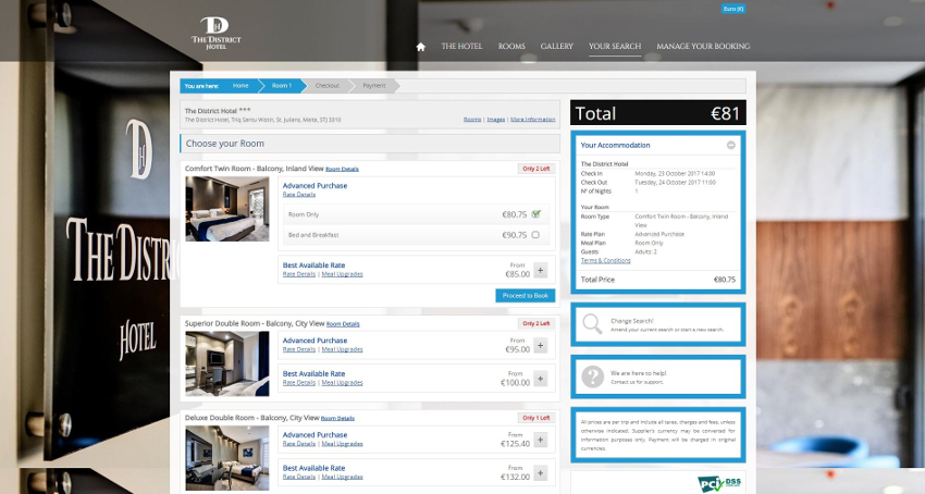 The District Hotel - Booking Engine