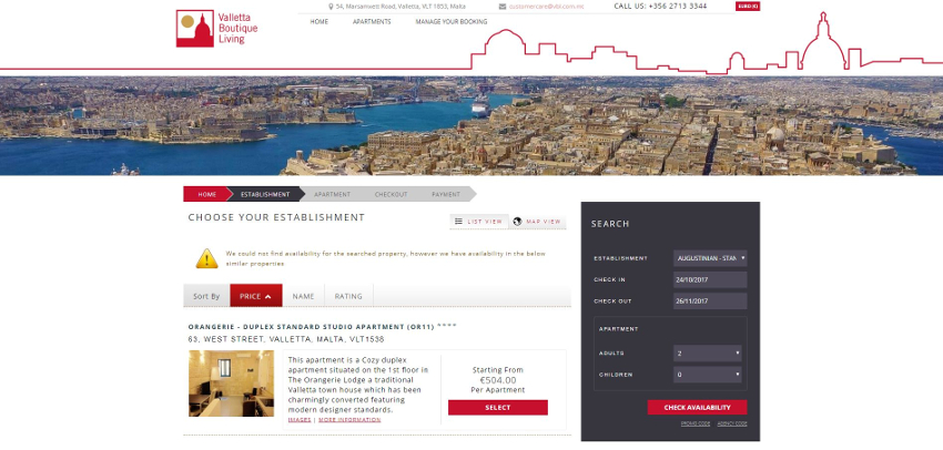 Valletta Boutique Living - Booking Engine
