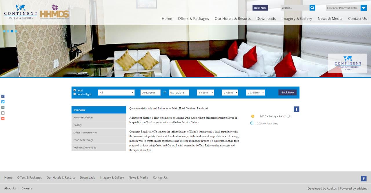 Continent Hotels - Internal Page