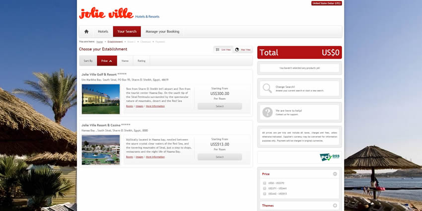Jolie Ville Sharm Resorts - Search Results Page