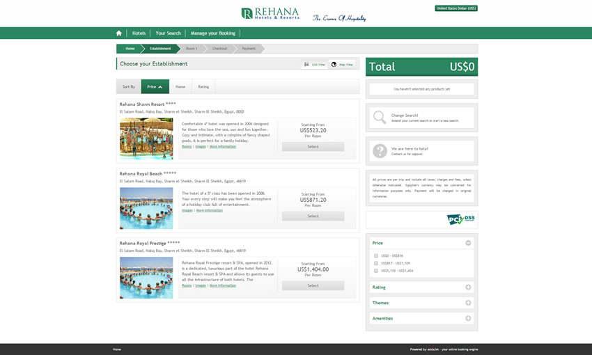 Al Rehana Hotels & Resorts - Search Results Page