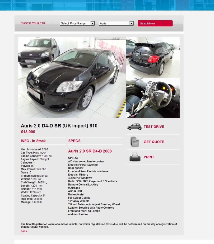Toyota Used Cars - Individual Car Page