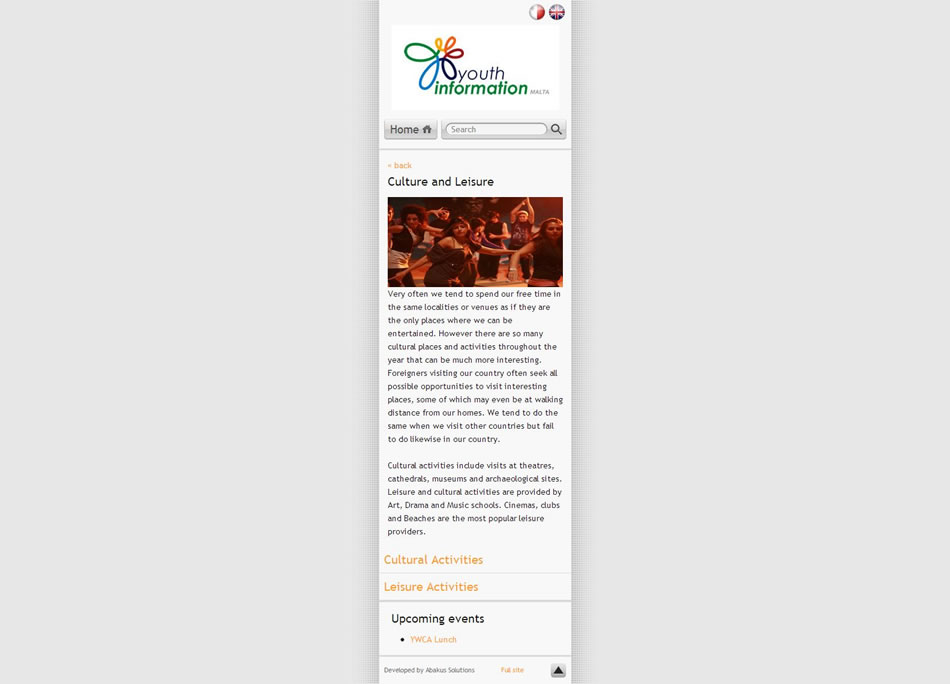 Youth Info Mobile Portal - Inner Page