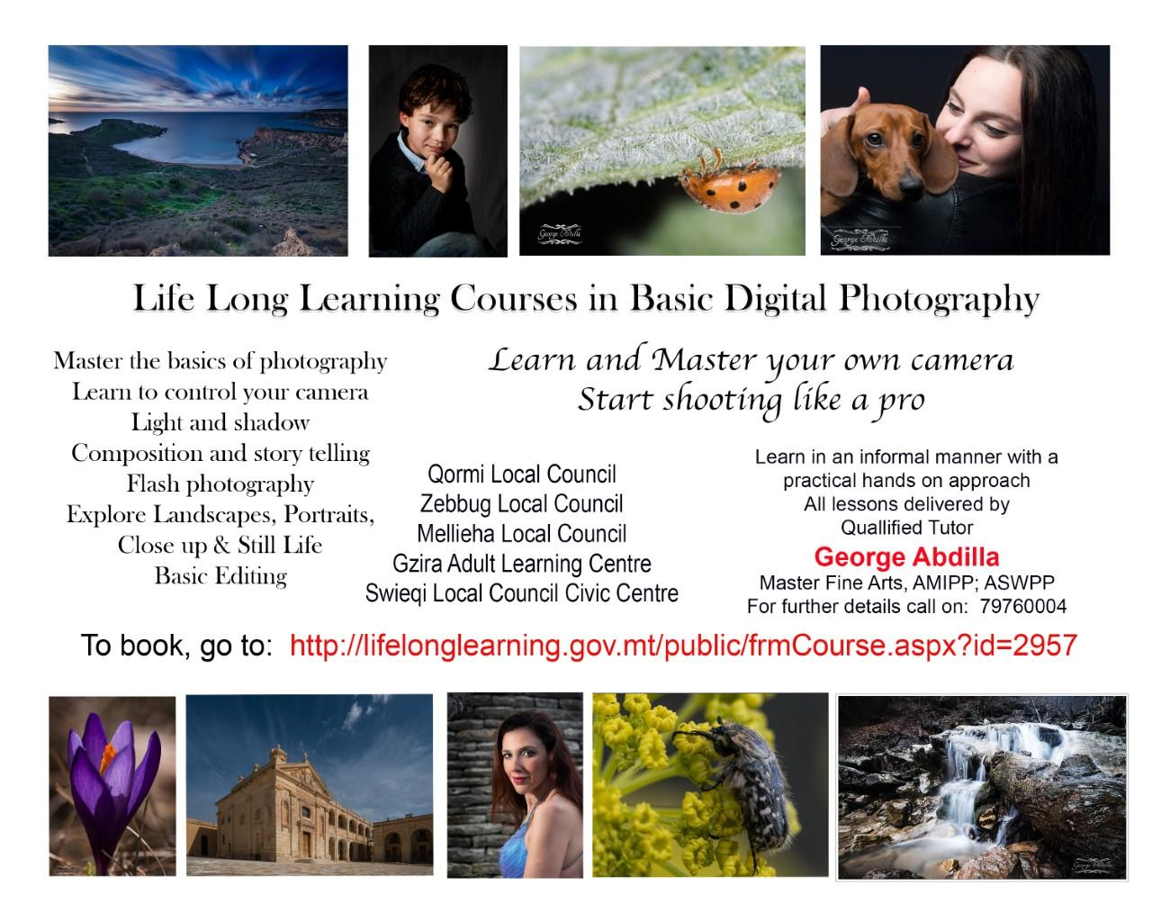 Life Long Learning Courses in Basic Digital Photography